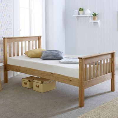 Happy Beds Somerset Wood High Foot End Bed with Orthopaedic Mattress - Waxed Pine - 3ft Single