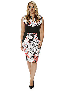 Sienna Couture Floral Print Plus Size Bodycon Dress - Multi
