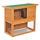 PawHut 2-Tier Double Decker Wooden Rabbit Hutch with Sliding Tray Opening Top