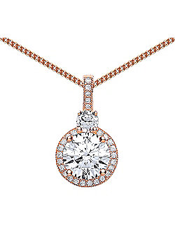 Rose Gold-Plated Sterling Silver Round Brilliant Cubic Zirconia Double Halo Pendant Necklace 18 inch