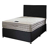 Happy Beds Bamboo Vitality 2000 Mattress Divan Bed Set Plain Headboard Black