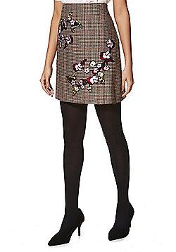 F&F Cherry Blossom Checked Mini Skirt - Multi