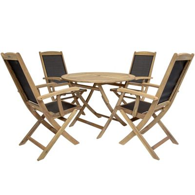 Charles Bentley Acacia Wood Round Table & Mesh Armchairs Dining Set