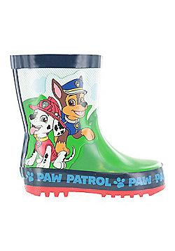 Boys Paw Patrol Green & Blue Wellies Wellington Rain Boots Sizes UK Child 4-10 - Green