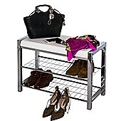 3-Tier Chromed Storage Shoe Rack/Bench with White Seat Cushion
