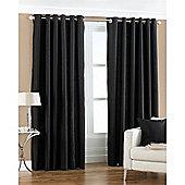Riva Home Fiji Faux Silk Eyelet Curtains - Black
