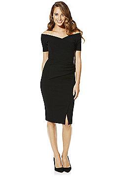 Feverfish Off the Shoulder Cocktail Dress - Black
