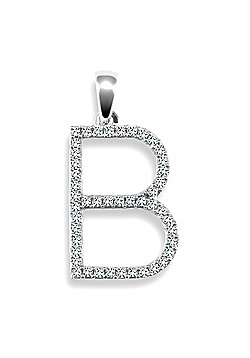 9ct White Gold Diamond Initial Identity Pendant - Letter B