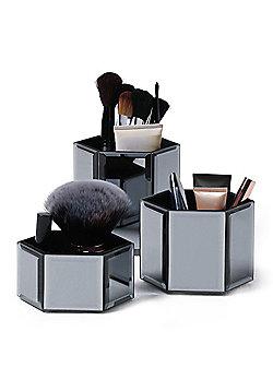 Beautify Smoked Grey Mirrored Glass Hexagon Storage Pots - Set of 3