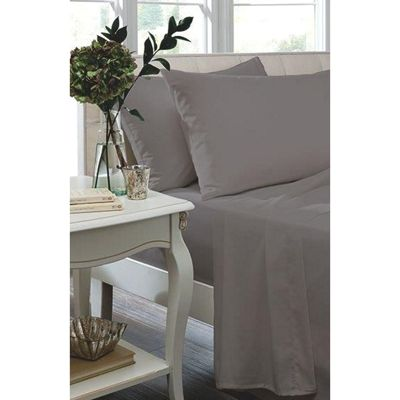 Catherine Lansfield Non Iron Percale Grey Flat Sheet - Single