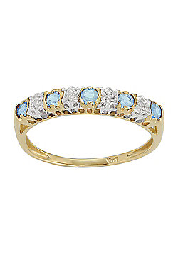 Gemondo 9ct Yellow Gold 0.27ct Blue Topaz & 2pt Diamond Half Eternity Band Ring