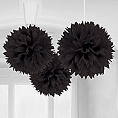 Black Pom Pom Decorations - 40cm