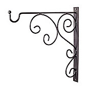 Black Metal Garden Wall Hook Hanging Basket Bracket - Design B
