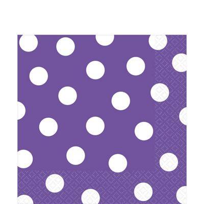 Purple Polka Dot Napkins - 33cm