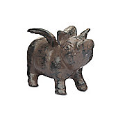 Vintage Cast Iron Flying Pig Garden Ornament