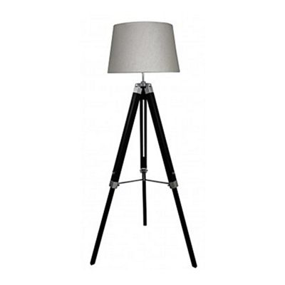 Black Hollywood Floor Lamp With Natural Shade