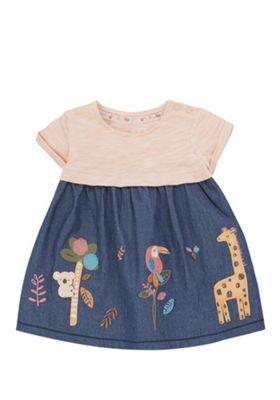 F&F Animal Applique Denim Dress Indigo/Coral 3-6 months