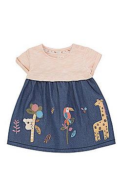 F&F Animal Applique Denim Dress - Indigo/Coral