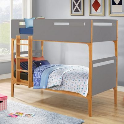 Happy Beds Islington Wood Kids Bunk Bed with 2 Open Coil Spring Mattresses - Grey and Oak - 3ft Single