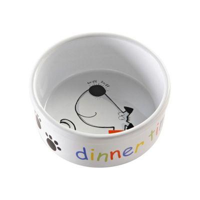 Mason Cash Dinner Time Dog Bowl, Durable Stoneware, Non-tip, 15cm, (White)