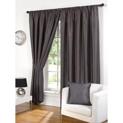 Hamilton McBride Faux Silk Pencil Pleat Grey Curtains - 66x90 Inches (168x229cm) Includes Tiebacks