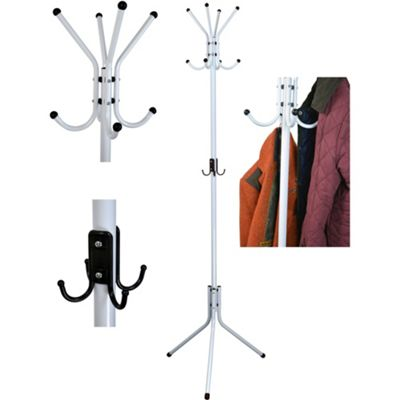 12 Hook Coat / Hat / Scarf Stand. Steel Construction. White