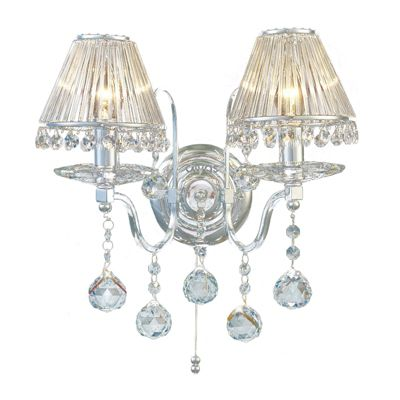 Bianco Wall Lamp Switched 2 Light Polished Chrome/Crystal