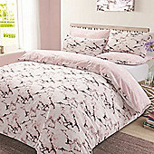 Marble Edge Duvet Cover Bedding Set, Grey - Double - Pink & White