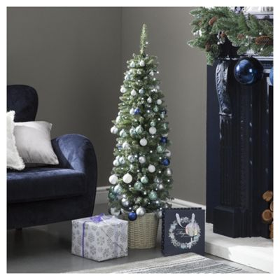 4ft Pre Lit Slim Pre Decorated Christmas Tree (50 white LEDs)