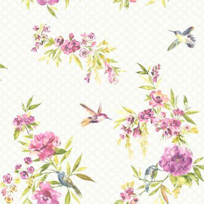 Amaya Birds Wallpaper - Pink and Lime - 11482