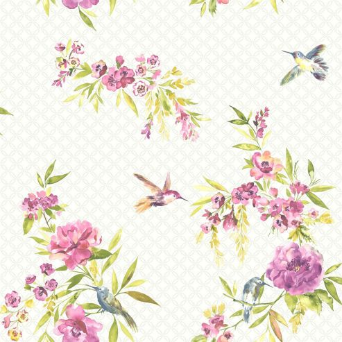 Amaya Birds Wallpaper - Pink and Lime - 11482