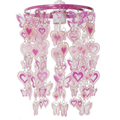 Hearts and Butterflies Ceiling Pendant Light Shade, Pink & White