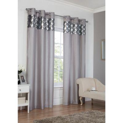 Hamilton McBride Astoria Eyelet Lined Silver Curtains - 46x54 Inches (117x137cm)