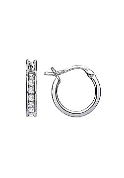 Rhodium Plated Sterling Silver Round Brilliant Cubic Zirconia Channel Set Eternity Hoop Earrings