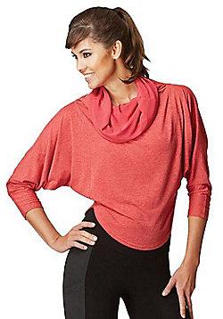 Womens Multi-Way 2 in 1 Reversible Long Length Sleeve Loose Yoga Top - Orange