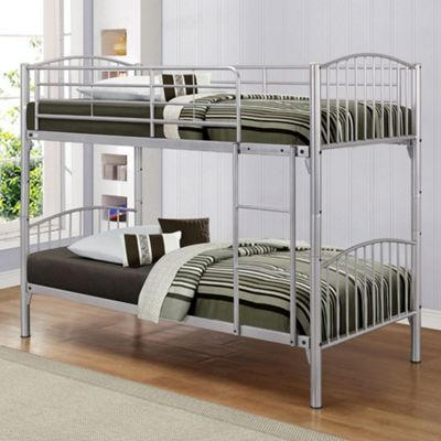 Happy Beds Corfu Metal Kids Bunk Bed with 2 Memory Foam Mattresses - Silver - 3ft Single