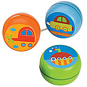 Bigjigs Toys Transport Yo-Yo's (Pack of 3 - Car, Submarine and Helicopter)