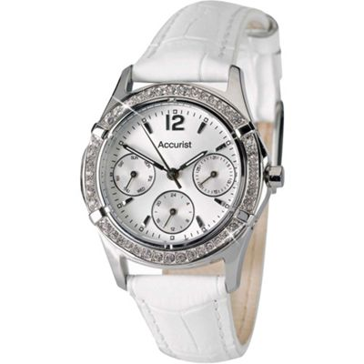 Accurist Ladies Leather 24 hour Day Date Swarovski Crystal Watch LS264PX