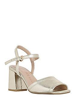 F&F Sensitive Sole Metallic Square Open Toe Sandals - Gold