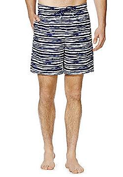 F&F Striped Long Length Swim Shorts - Navy