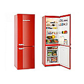 Montpellier MAB365R Retro Fridge Freezer in Red