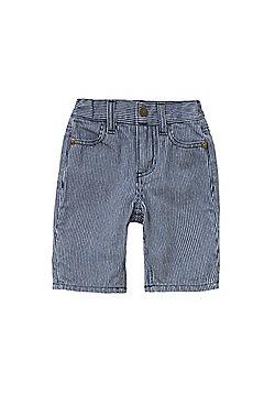Pumpkin Patch Striped Denim Shorts - Blue