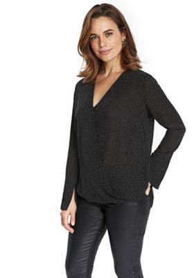 Wallis Polka Dot Wrap Top 12 Black & White