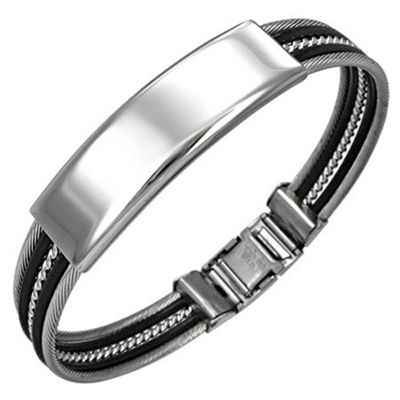 Urban Male Two Colour Stainless Steel Polished ID Bangle Bracelet