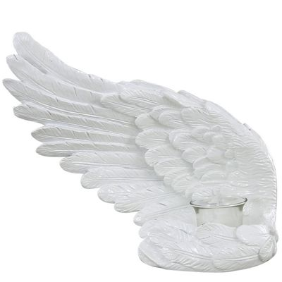 Left Shiny White Angel Wing Tealight Holder