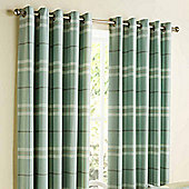 """Homescapes Duck Egg Blue Tartan Design Curtains with Eyelet Header 46x90"""""""