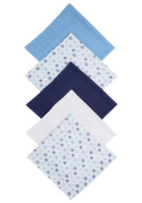 F&F 5 Pack of Star Print and Plain Square Muslins One Size Multi