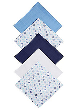 F&F 5 Pack of Star Print and Plain Square Muslins - Multi