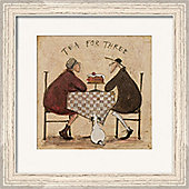 Sam Toft Tea for Three Pale Wood Finish Framed Print 40 x 40cm