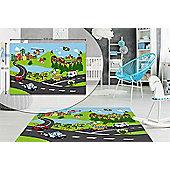 City Traffic Kids Bedroom Floor Rug Soft Play Mat Carpets Non-Slip Washable 80 x 120 cm